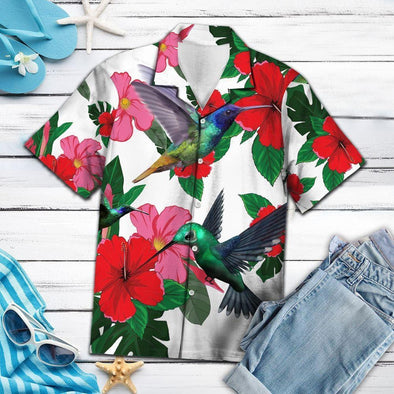 Hummingbird Floral Tropical Vibe Hawaiian Aloha Shirts #DH