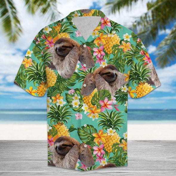 Tropical Sloth and Pineapple Pattern Hawaii Shirts