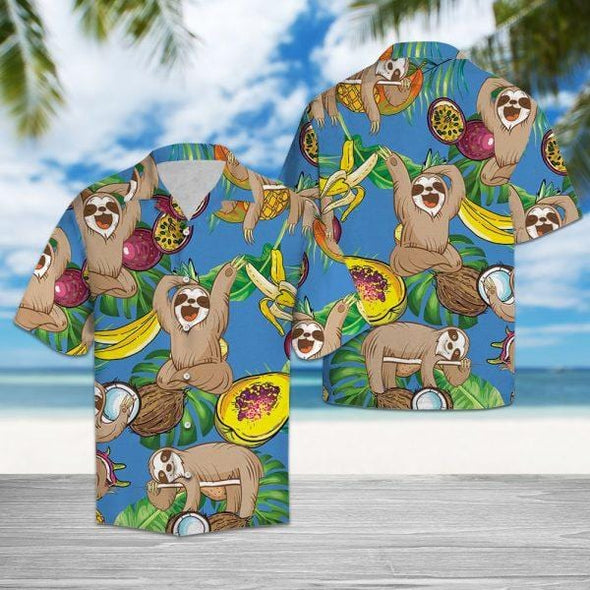 Funny Sloth with Fruits Tropical Hawaii Shirts