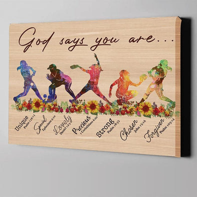 Softball God says you are Canvas Wall Art #1607h