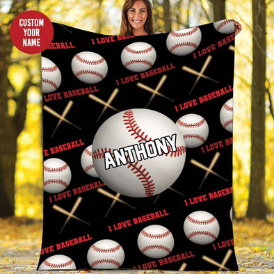 Baseball Ball Pattern Customized Name and Number Fleece Blanket #169h