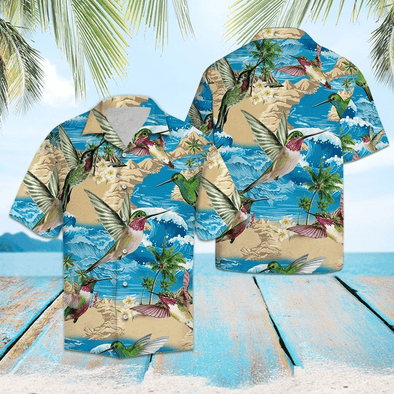 Hummingbird Summer Hawaiian Aloha Shirts #HL