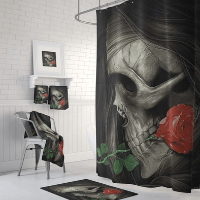 Skull and Rose Shower Curtain