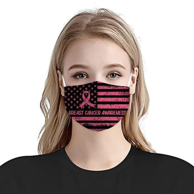 Breast Cancer Awareness American Flag Facemask