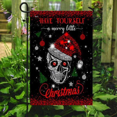 Skull Santa Have Yourself A Merry Little Christmas Flag