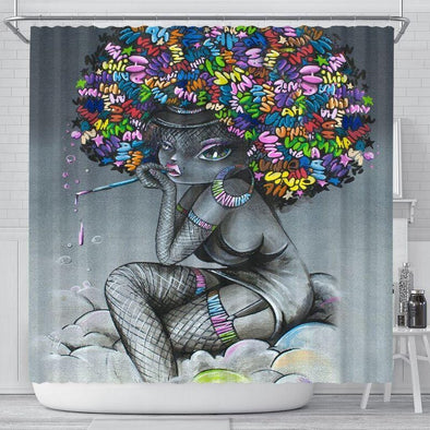 Black Girl Painting Afro Shower Curtain #2310H