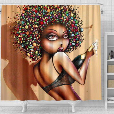 Black Girl And Wine Shower Curtain #2310V