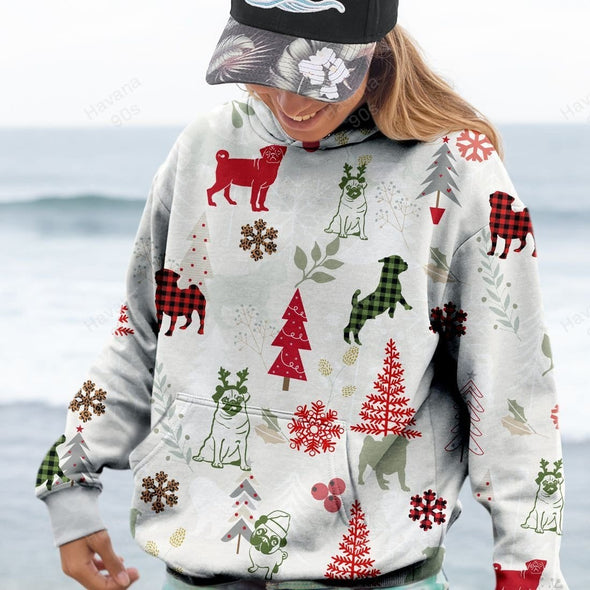 Pug Dog Love Christmas Hoodie 3D All Over Print