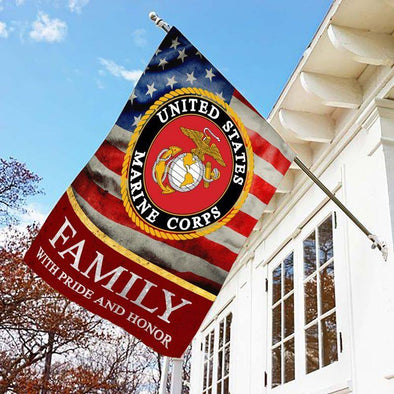 U.S Marine Corps Family With Pride And Honor Flag