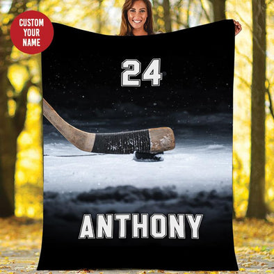 Hockey Stick And Puck On Ice Customized Name and Number Fleece Blanket #179h