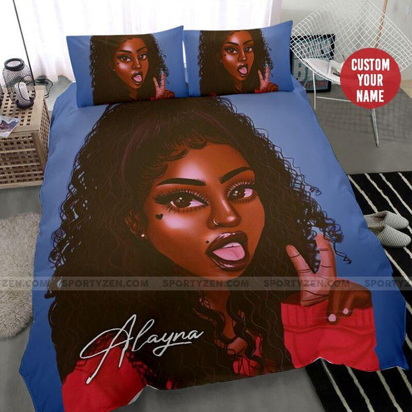 Black girl African with afro hairstyle Custom Name Duvet Cover Bedding Set #1706h