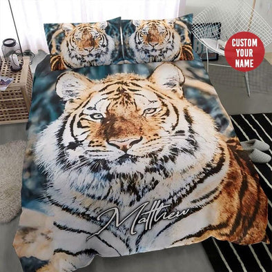 Tiger Watercolor Bedding Custom Name Duvet Cover Bedding Set #1807H