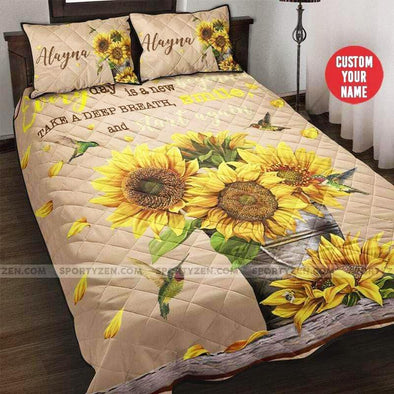 Custom name Everyday is a new beginning Sunflower and hummingbird quilt bed set #1906h