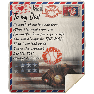 A Letter To My Dad Baseball Customized Blanket With Name