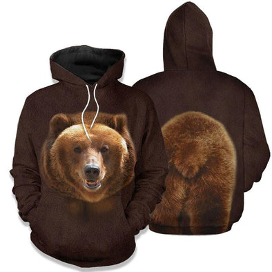 Brown Glizzly Bear Hoodie 3D All over print #H