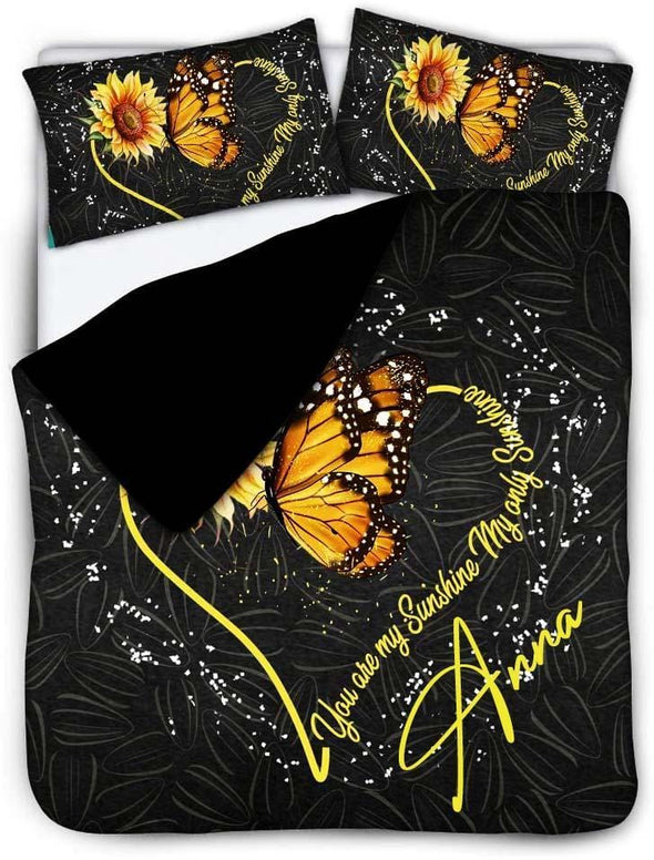 Butterfly Sunflower you are my sunshine Custom Name Duvet Cover Bedding Set #V