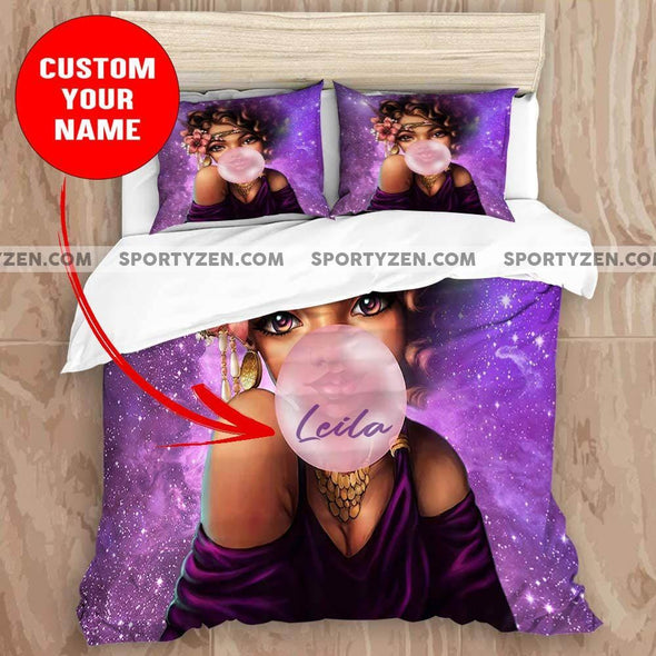 African Bubble Gum Black Girl Custom Name Duvet Cover Bedding Set