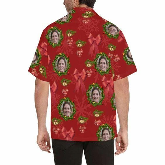 Custom Hawaiian Aloha Shirts Christmas Red Garland With Photo