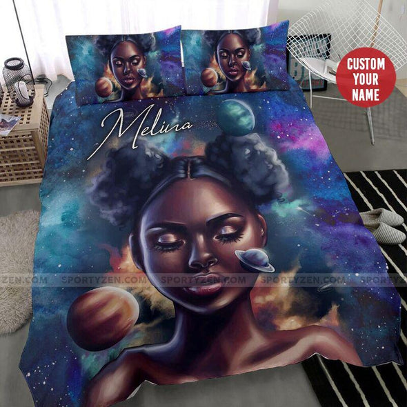 Galaxy Black woman African Custom Name Duvet Cover Bedding Set #2006h