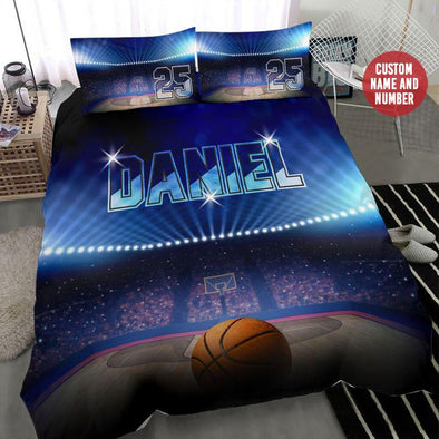 Basketball Ball Stadium Custom Duvet Cover Bedding Set with Your Name #2008H