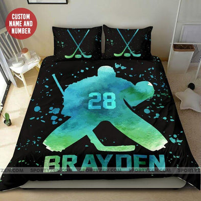 Hockey Goalie Color Vector Custom Duvet Cover Bedding Set with Your Name