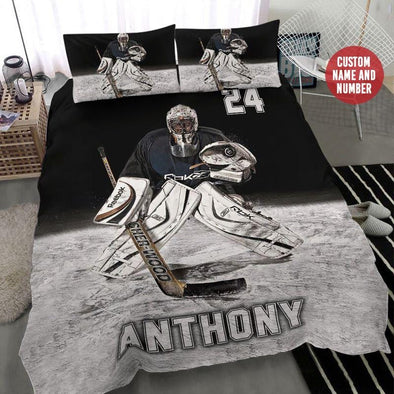 Hockey Goalie Cool Custom Duvet Cover Bedding Set with Your Name and Number #2109H