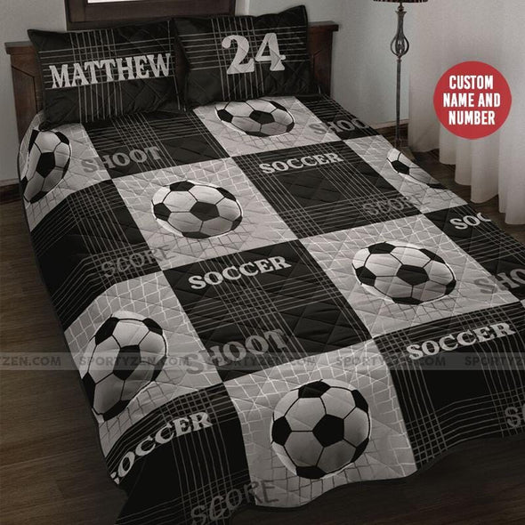 Custom Soccer shoot black Quilt Bed Set with name