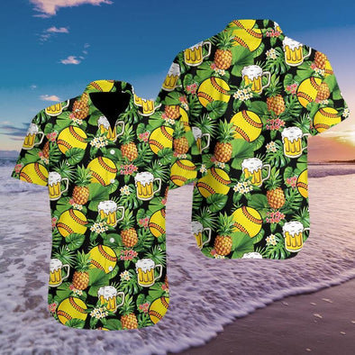 Softball And Beer Hawaiian Aloha Shirts Fantastic #298h