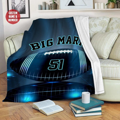 Football Blue Light Customized Name and Number Fleece Blanket #309L
