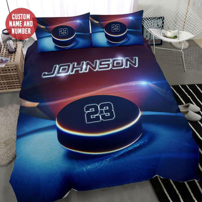 Hockey Puck Light Custom Duvet Cover Bedding Set with Your Name and Number #309L