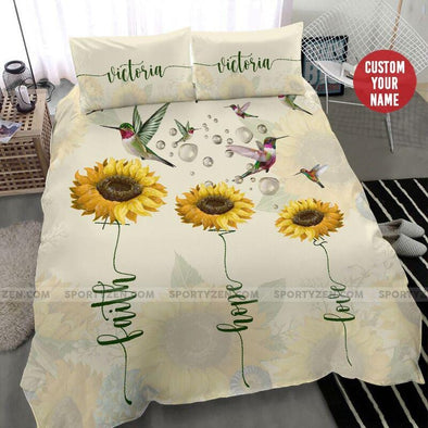 Hummingbird Sunlowers Custom Duvet Cover Bedding Set with Your Name #3006H