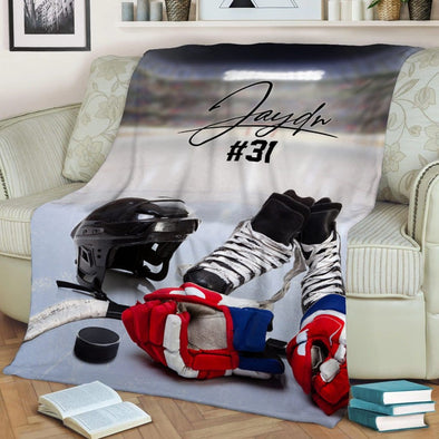 Hockey Stuff Customized Name and Number Fleece Blanket #298l