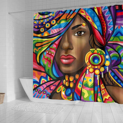 Colorful Art African Woman Bathroom Shower Curtain #1308V