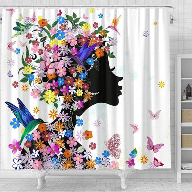 Flower Afro Girl Hummingbird Art Shower Curtain #1008V