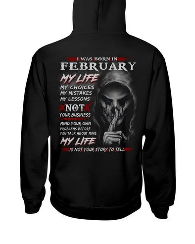 Halloween Skull I was born in February Custom name Shirt #V