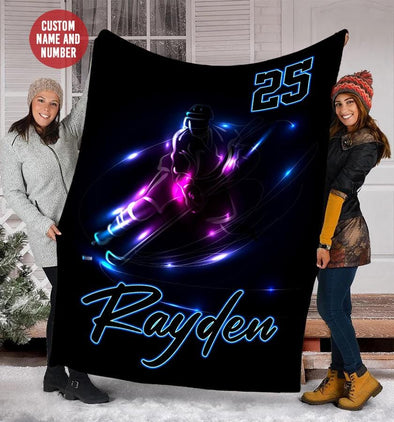 Ice Hockey Player Light Custom Blanket With Your Name #49l