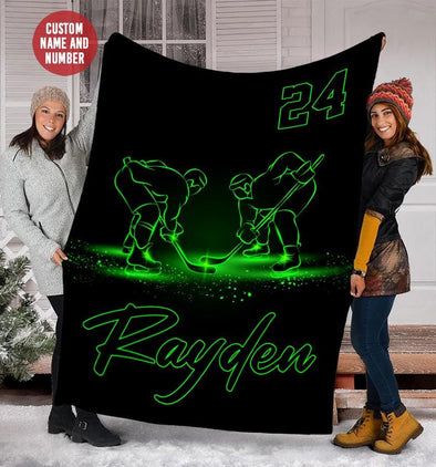 Hockey Player Green Light Custom Blanket With Your Name #49l