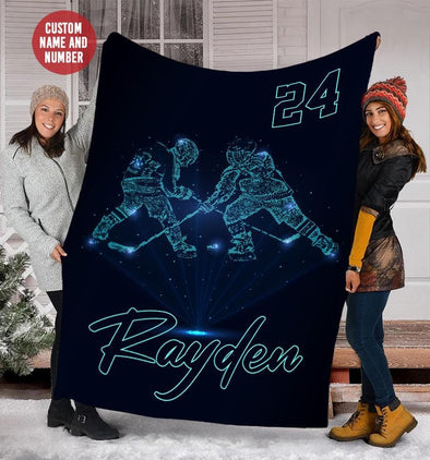 Hockey Player Blue Techlight Custom Blanket With Your Name #49l