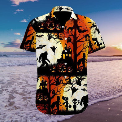 Ew People Bigfoot UFO Halloween Hawaiian Aloha Shirts #2809H