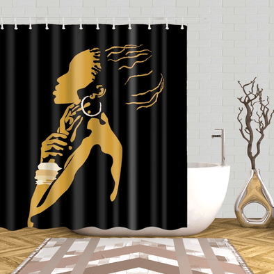 Abstract Black Girl Art African American Silhouette Shower Curtain #DH
