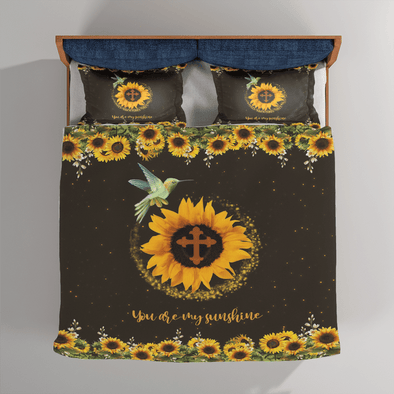 Hummingbird Sunflower Cross You are my sunshine Custom Name Bedding Set #V