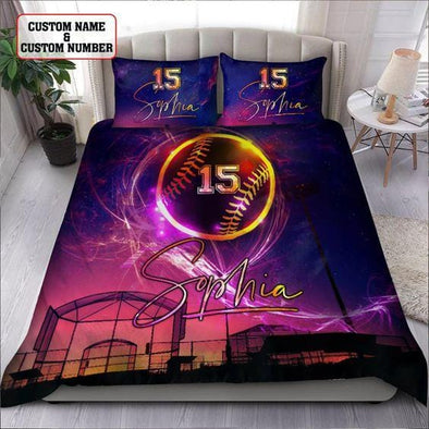 Softball Colorful Techlight Custom Duvet Cover Bedding Set with Your Name and Number