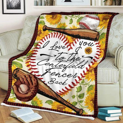 Baseball I Love You To The Centerfield Fence And Back Custom Blanket
