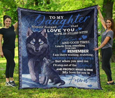 Wolf Mom to my daughter my love for you is forever custom name blankets #V