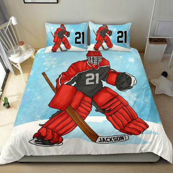 Red Hockey Snowflake Custom Duvet Cover Bedding Set with Your Name and Number #711L
