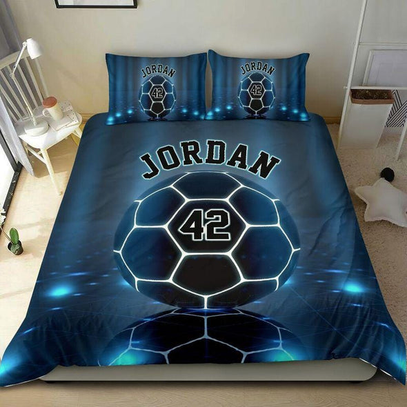Soccer Blue Light Custom Duvet Cover Bedding Set with Your Name and Number #711L