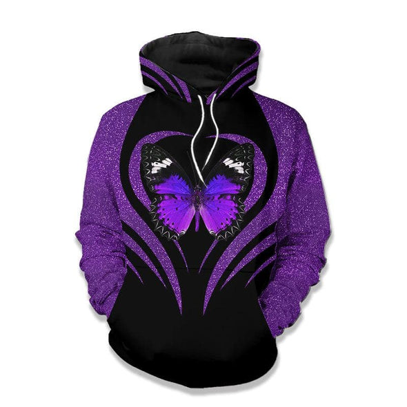 Purple Butterfly So Beautiful 3D All Over Print Hoodie #H
