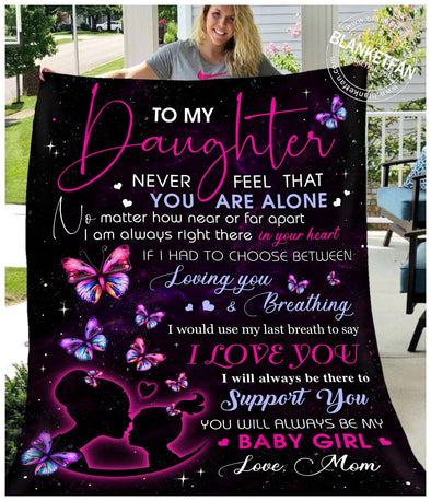 To My Daughter Baby Girl Butterfly Fleece Blanket