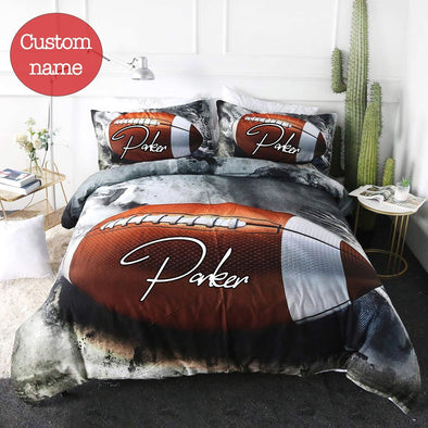 American football Grey 3D Bedding Set with Your Name