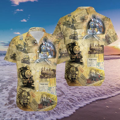 Vintage Trains Hawaiian Aloha Shirts #1911l